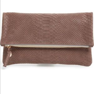 Clare V. Snake Embossed Leather Foldover Clutch
